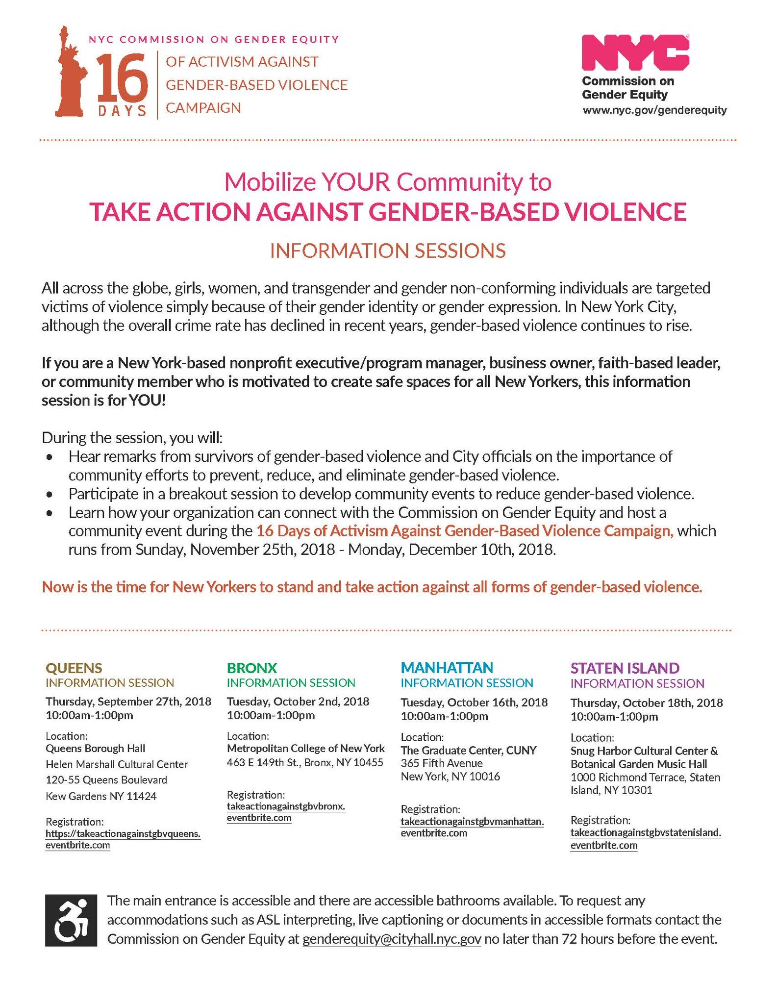 Public Information Session: Take Action Against Gender-Based Violence