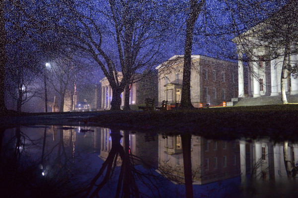 "01/26/2014 - A tempoary rainwater/snowmelt reflecting ""pool"" on the Harbor lawn, doubles the beauty of the Greek Revival buildings. New Lights at Snug harbor Cultural Center and Botanical Garden brighten the night Friday, January 9, 2014.(Staten Island Advance/ Bill Lyons) redesign-images"