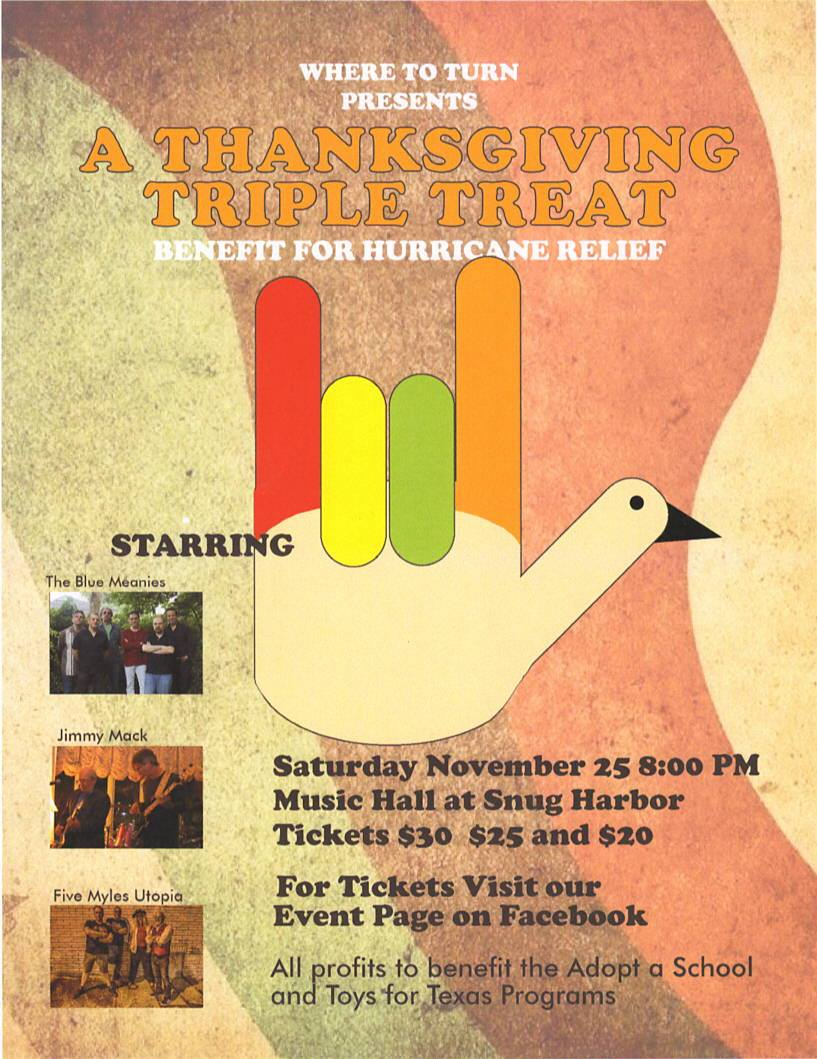 A Thanksgiving Triple Treat: Benefit for Hurricane Relief
