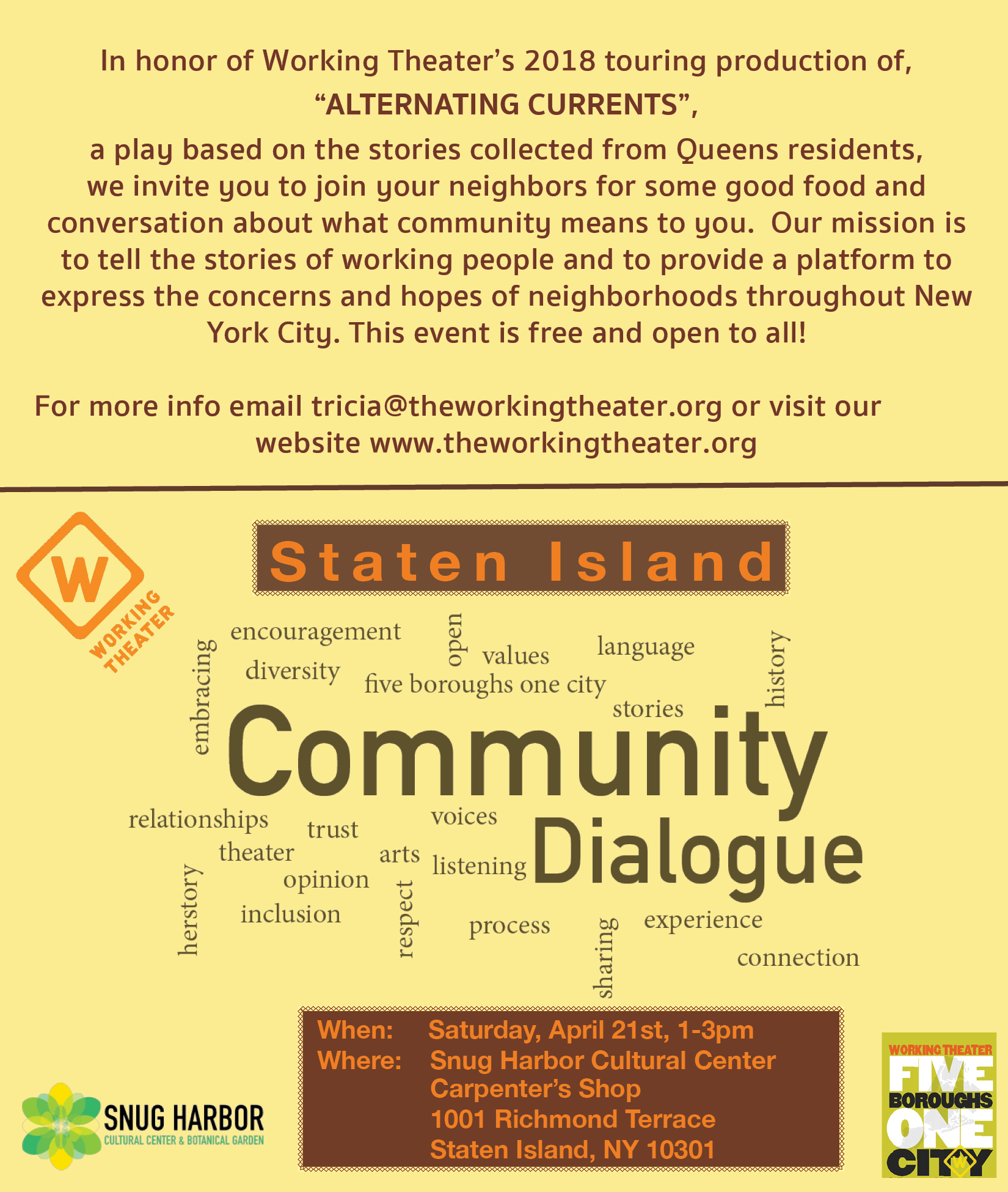 Working Theater presents: Community Dialogue
