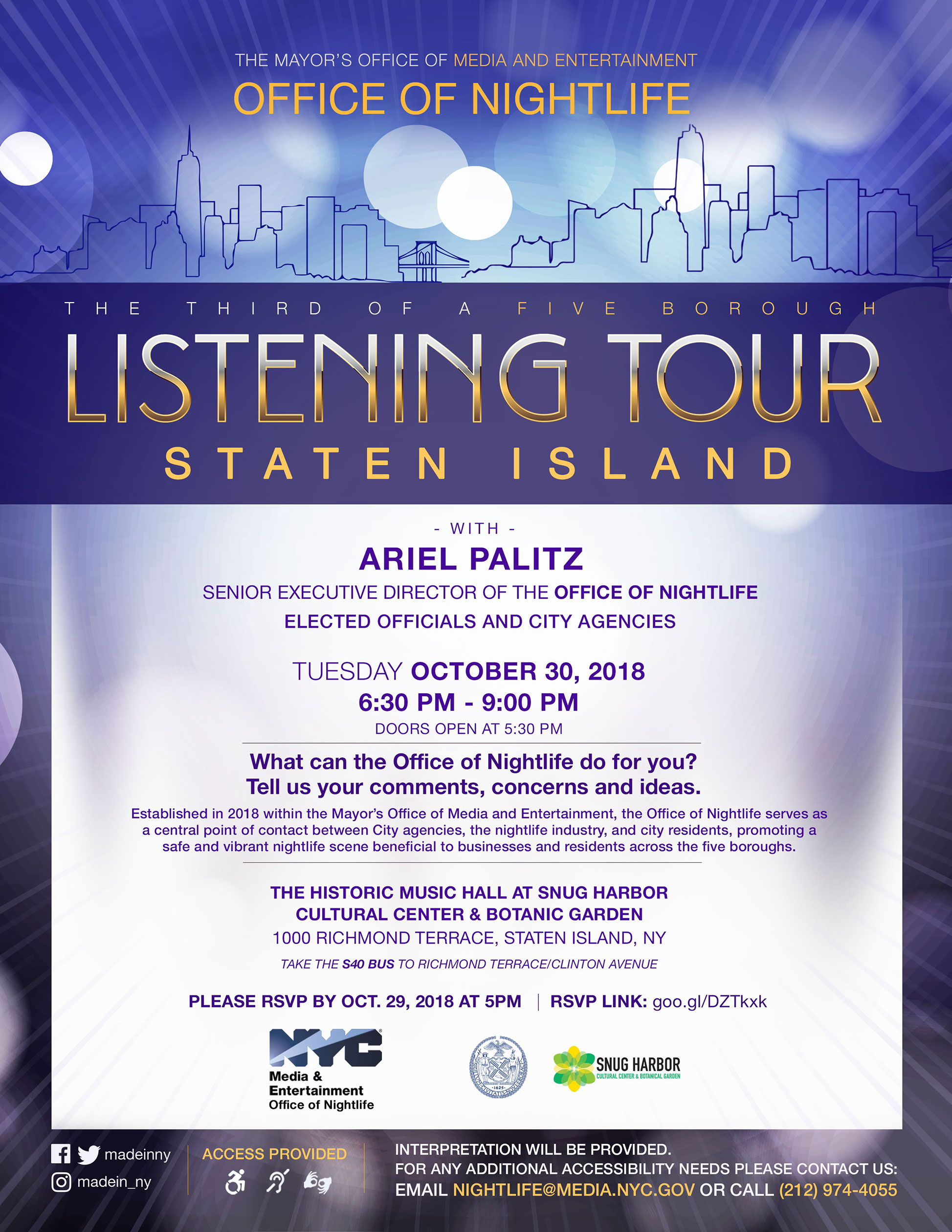 Listening Tour: The Office of Nightlife at the NYC Mayor's Office of Media and Entertainment
